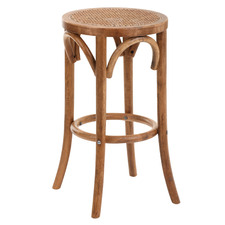 65cm Antique Brown Luca Beech Wood & Rattan Barstool