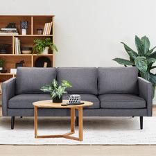 Dark Grey Carlo 3 Seater Upholstered Sofa