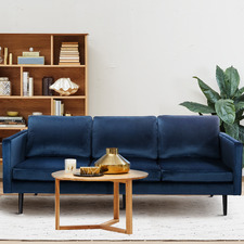 Navy Carlo 3 Seater Upholstered Sofa