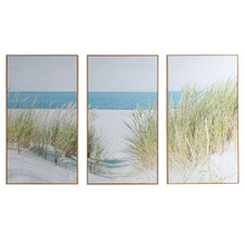 Secluded Shore Framed Canvas Wall Art Triptych
