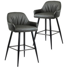 65cm Dark Grey Ruche Faux Leather Counter Stools (Set of 2)