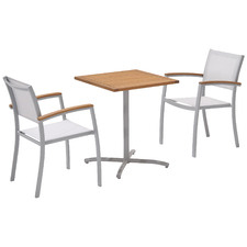 2 Seater Silver Maui Aluminium Outdoor Sling Bistro Set