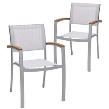 Silver Maui Aluminium Outdoor Sling Dining Chairs (Set of 2)