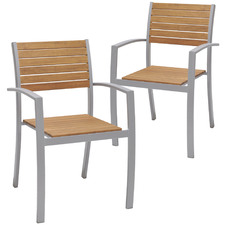 Natural Maui Eucalyptus Wood Outdoor Dining Chairs (Set of 2)