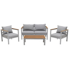 4 Seater Maui Outdoor Aluminium & Eucalyptus Wood Lounge Set