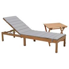 2 Piece Natural Maui Eucalyptus Wood Sun Lounge & Side Table Set