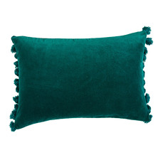 Teal Minnie Tasselled Velvet Cushion