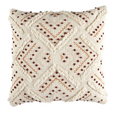 Rust Prairie Embroidered Cotton Cushion