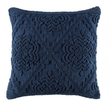 Navy Edie Hand-Loomed Cotton Cushion