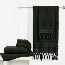 6 Piece Forest Green Knotted Byron Turkish Cotton Towel Set