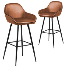 62cm Tan Frankie Faux Leather Barstools (Set of 2)