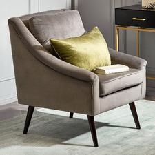 Taupe Harmony Velvet Armchair