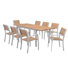 8 Seater Natural Maui Eucalyptus Wood Outdoor Dining Set