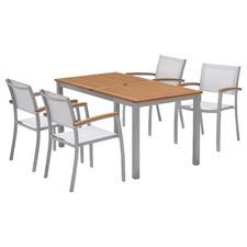 4 Seater Silver Maui Aluminium Outdoor Sling Dining Set