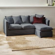 Charcoal Montauk Slipcover Reversible Chaise Sofa