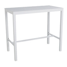 White Kos Rectangular Aluminium Outdoor Bar Table