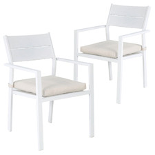 White Kos Aluminium Outdoor Slatted Dining Chairs (Set of 2)
