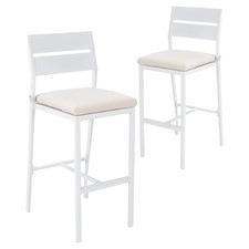 73cm White Kos Aluminium Outdoor Slatted Barstools (Set of 2)