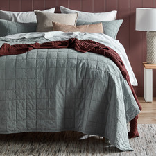 Blue Washed Cotton Coverlet Set