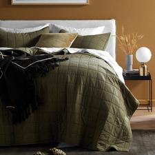 Olive Washed Cotton Coverlet Set