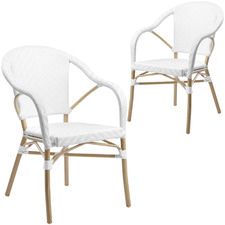 White Paris PE Rattan Outdoor Cafe Armchairs (Set of 2)