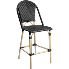 64cm Black Paris PE Rattan High Back Outdoor Barstool
