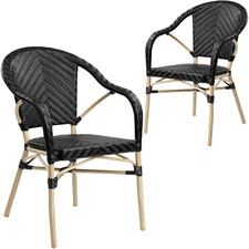 Black Paris PE Rattan Outdoor Cafe Armchairs (Set of 2)