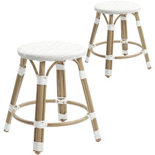 46cm White Paris PE Rattan Outdoor Cafe Stools (Set of 2)