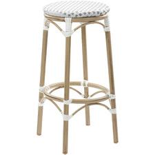76cm Grey & White Paris PE Rattan Outdoor Cafe Barstool