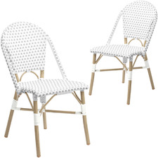 Grey & White Paris PE Rattan Outdoor Cafe Dining Chairs (Set of 2)