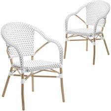 Grey & White Paris PE Rattan Outdoor Cafe Armchairs (Set of 2)