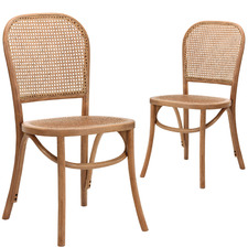 Antique Brown Luca Beech Wood & Rattan Dining Chairs (Set of 2)