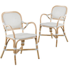 White Danica Rattan Dining Armchairs (Set of 2)