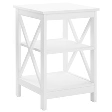 White Noosa Side Table with Shelf