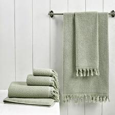 6 Piece Sage Hand-Knotted Turkish Cotton Towel Set