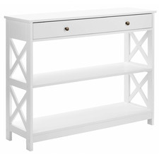 White Noosa Console Table with Drawer