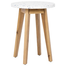 Kenzi Terrazzo & Wood Outdoor Side Table