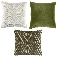 3 Piece Green & Ivory Cotton Cushion Set