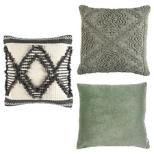 3 Piece Sage & Natural Cotton Cushion Set