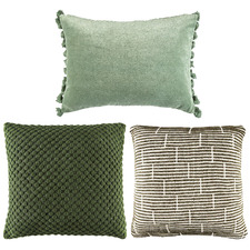 3 Piece Sage & Forest Green Cotton Cushion Set