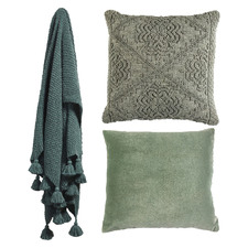 3 Piece Sage & Petrol Blue Cotton Cushions & Throw Set