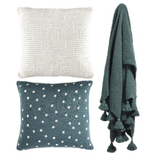 3 Piece Petrol Blue & Light Grey Cotton Cushions & Throw Set