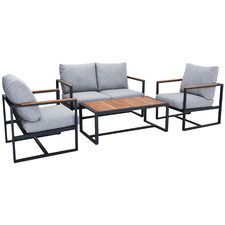 4 Seater Manado Teak & Aluminium Outdoor Lounge Set