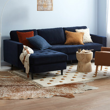 Navy Mera 3 Seater Velvet Sofa