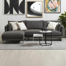 Grey Zanda 3 Seater Sofa with Chaise