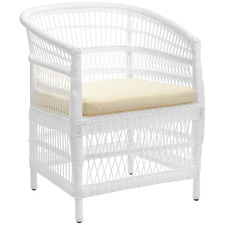 White Malawi Style PE Rattan Outdoor Cushioned Dining Chair