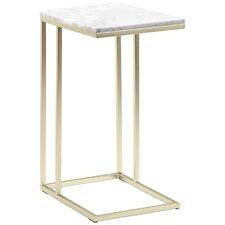 White Serena C-Shaped Italian Carrara Marble Side Table