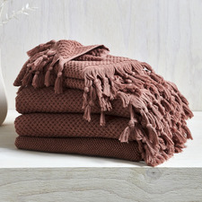 6 Piece Clay Hand-Knotted Turkish Cotton Towel Set
