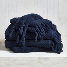 6 Piece Navy Hand-Knotted Turkish Cotton Towel Set