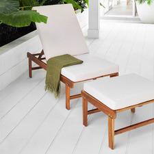 2 Piece St. Barths Acacia Sun Lounge Chair & Ottoman Set